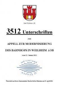 Unterschriftenliste zur Modernisierung des Bahnhofs Weilheim 2011