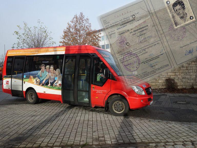 Stadtbus und alter Führerschein