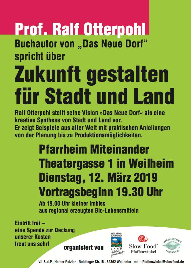 """Vortrag Prof. Otterpohl """"Zukunft gestalten für Stadt und Land"""" in Weilheim - Plakat"""