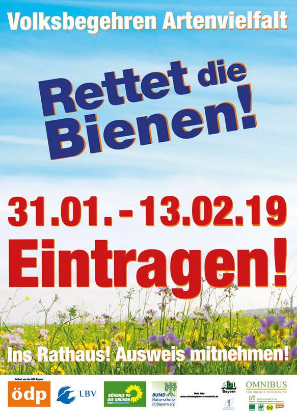 """Volksbegehren Artenvielfalt """"Rettet die Bienen"""" - Poster"""