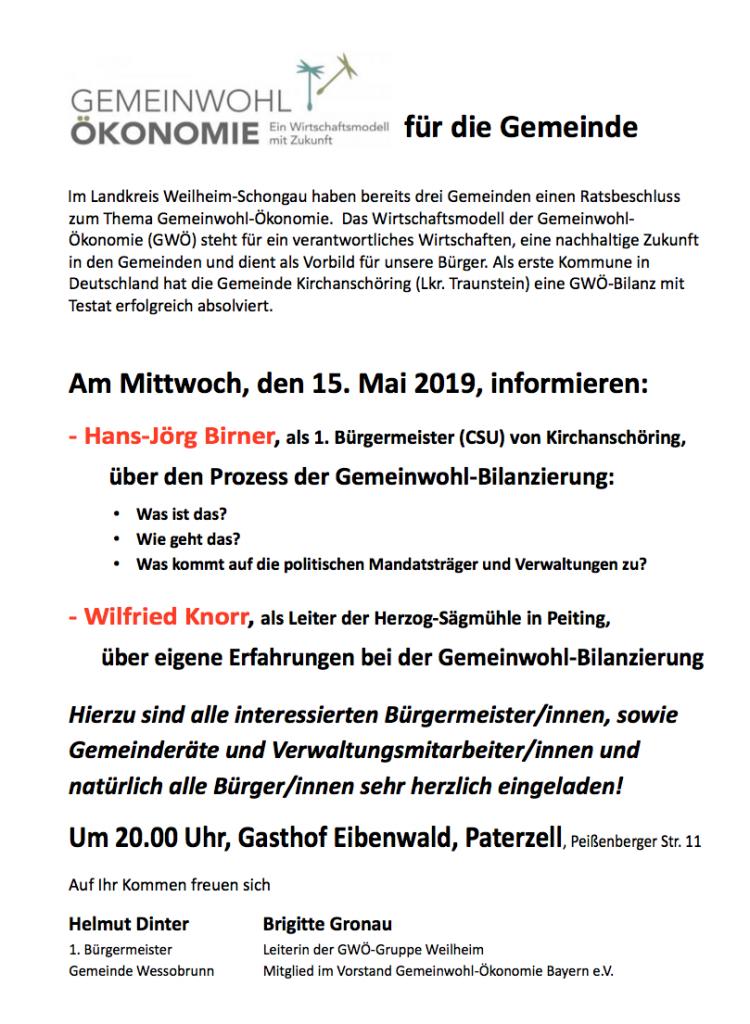 Vortrag GWÖ-Bilanzierungsprozess einer Gemeinde, 15.5.19 in Paterzell bei Weilheim.