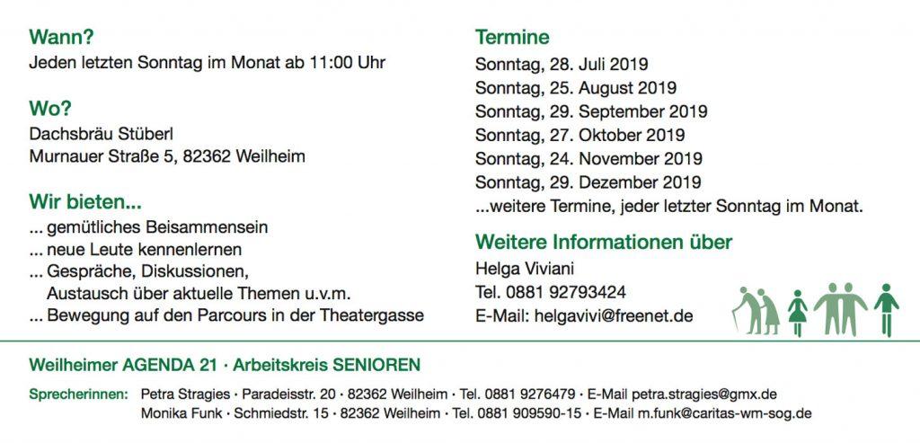 Weilheimer Seniorenstammtisch 2019-II - Postkarte Info