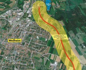 Karte mit möglicher Ostumfahrung in Weilheim - Grafik der Bürgerinitiative Heimat2030