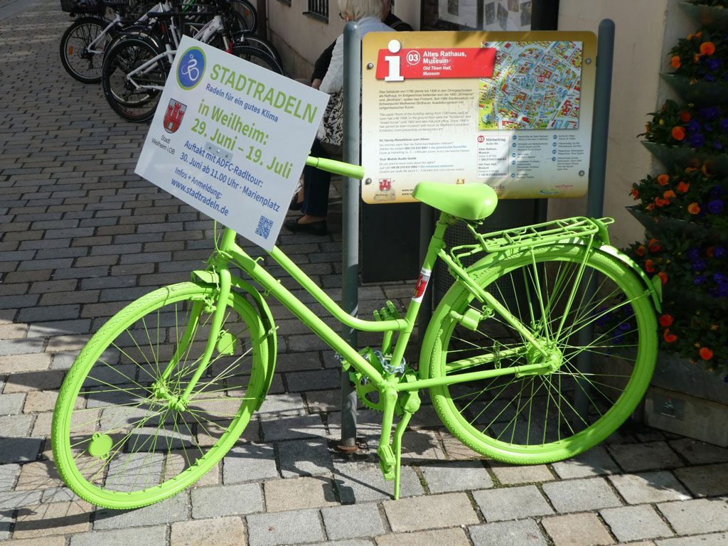 Weilheimer Stadtradeln 2019 – Grünes Radl wirbt am Marienplatz