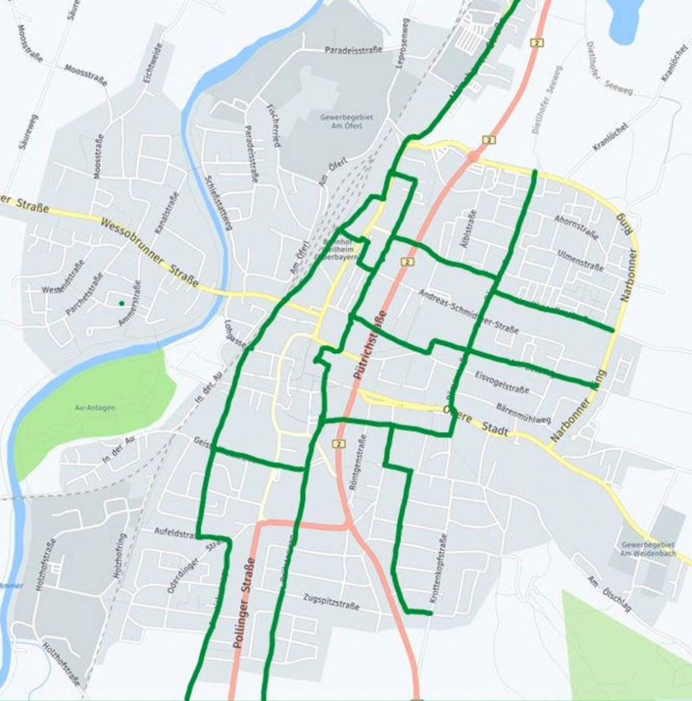 Radverkehr-Konzept Weilheim, Juni 2020 - Karte Fahrradachsen.