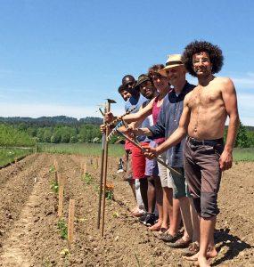 Gemeinsam Gemüse anbauen – Sonnenacker bei Weilheim - 6 Gärtner auf dem Feld. Foto: SlowFood Pfaffenwinkel