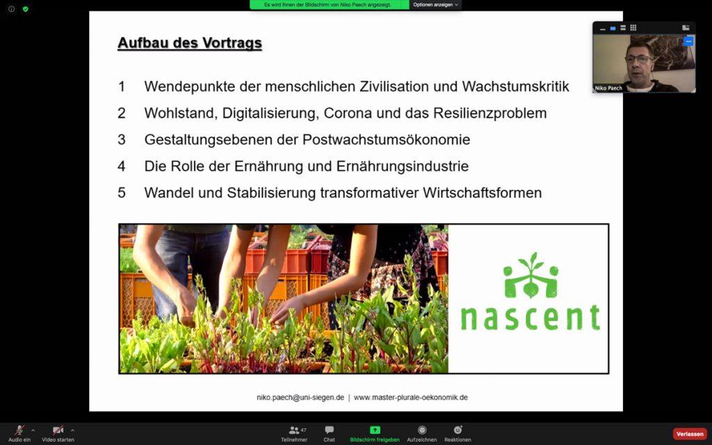 Niko Paech Online-Vortrag 29.10.20 – Aufbau