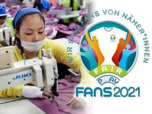 WirSindFansVonNäherinnen-Aktion Logo, Foto von Näherin in Kambodscha